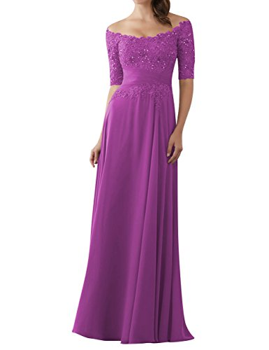 Evening Dresses Mother of The Bride Gowns with Sleeves Lace Long Chiffon Beaded Orchid US16W ()