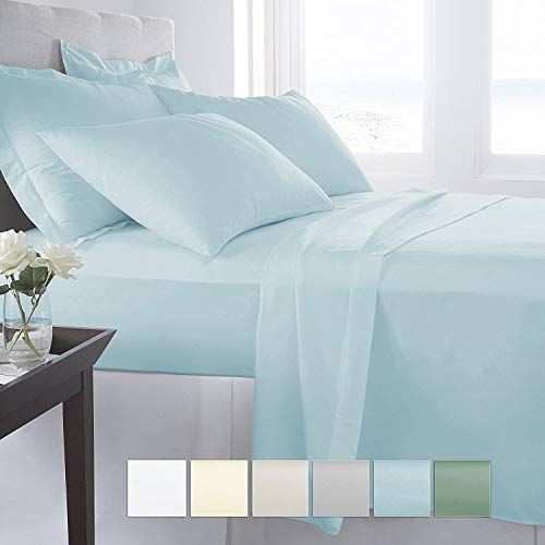 "Pizuna 400 Thread Count Cotton Light Blue Queen Sheets Set, 100% Long Staple Cotton Sheets, Soft Cotton Satin Bed Sheets fit Upto 17"" Deep Pockets (Baby Blue Queen 100% Cotton ()"