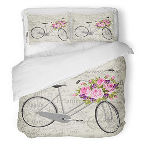 Semtomn Decor Duvet Cover Set Twin Size Colorful Gray Bicycle Basket Full of Flowers Vintage Green 3 Piece Brushed Microfiber Fabric Print Bedding Set Cover]()