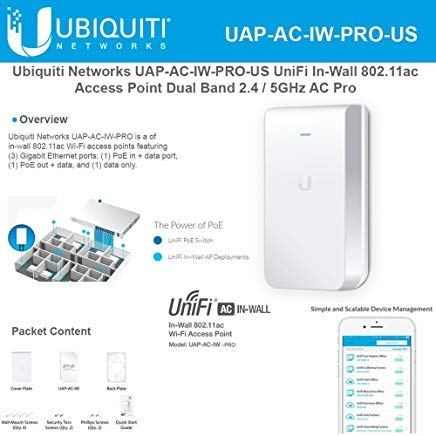 In Wall Access Point - Access Point UniFi In-Wall Dual Band UAP-AC-IW-PRO-US 802.11ac Dual Band Access Point 2 / 5GHz
