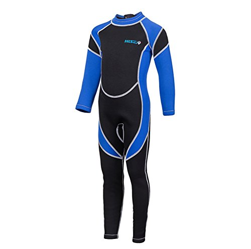 SailBee 2MM Neoprene One Piece Full Wetsuits for Kids Boys Girls Back Zipper Swimsuit UV Protection (M016 Blue, Size 14) -