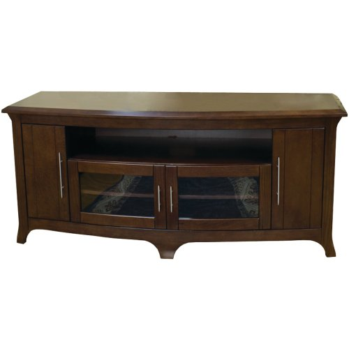 -Inch Wide Flat Panel TV Curved Front Credenza - Walnut (Tech Craft Wood Finish Tv Stand)