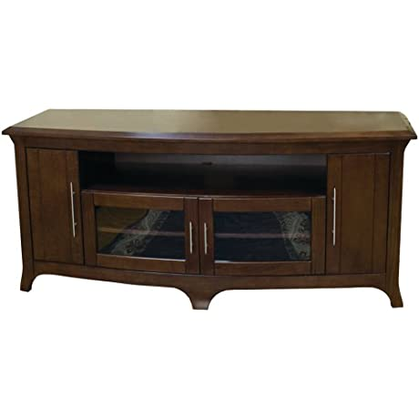 TechCraft EOS6428 64 Inch Wide Flat Panel TV Curved Front Credenza Walnut