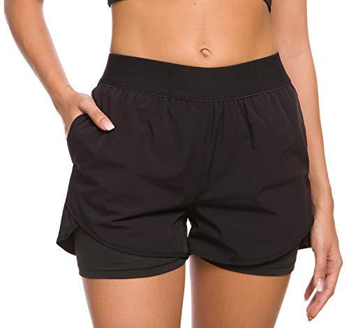 Custer's Night Women's Running Short Workout Athletic Jogging Shorts 2-in-1 Black XL (Run Pocket)
