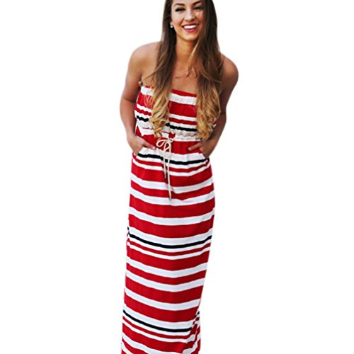 Luweki Strapless Wrapped chest Splicing stripe Women Summer Casual Sexy Strapless Dress (L, Red White)