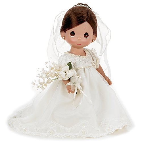 Precious Moments Dolls by The Doll Maker, Linda Rick, Enchanted Dreams Bride Brunette, 12 inch (Brunette Bride Doll)