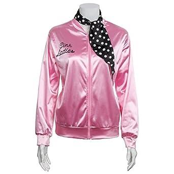 5ba8935d4d Amazon.com  1950s Pink Satin Jacket with Neck Scarf Girls Women Halloween  Costume Fancy Dress Props  Clothing