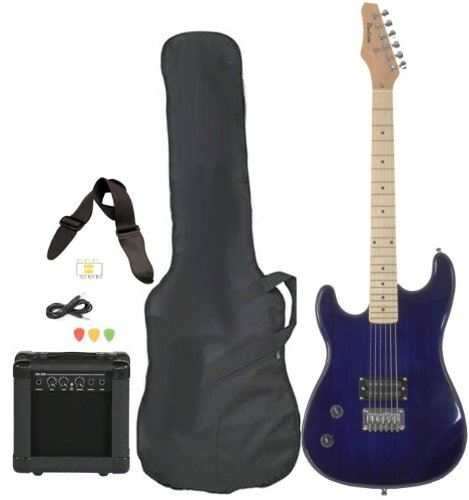 Davison Guitars Full Size Black Electric Guitar with Amp, Case and Accessories Pack Beginner Starter Package Blue Left Handed