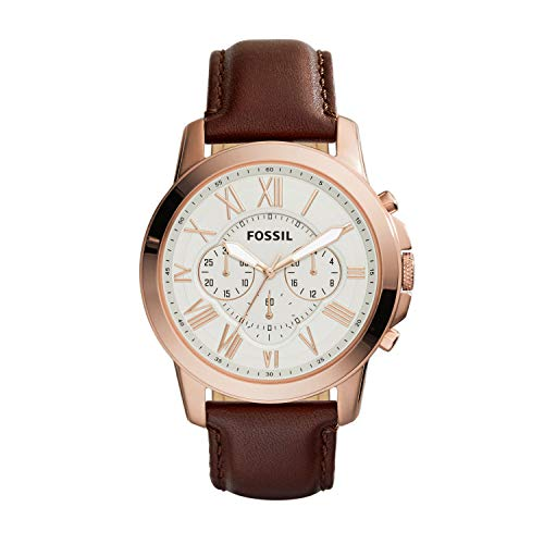 - Fossil Men's Grant Quartz Stainless Steel and Leather Chronograph Watch Color: Rose Gold Brown (Model: FS4991)