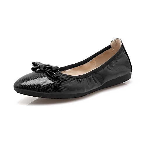 AalarDom Mujer Sólido Sin cordones Mini Tacón Material Suave De salón Negro