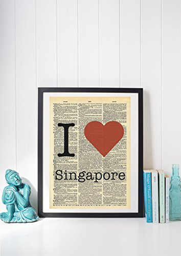 I Heart Singapore Vintage Dictionary Print 8x10 inch Home Vintage Art Abstract Prints Wall Art for Home Decor Wall Decorations For Living Room Bedroom Office - Prints Singapore