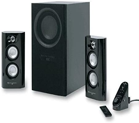 Amazon Com Altec Lansing Mx5021 90 Watt Powered Rms 3 Piece Speaker Set Electronics