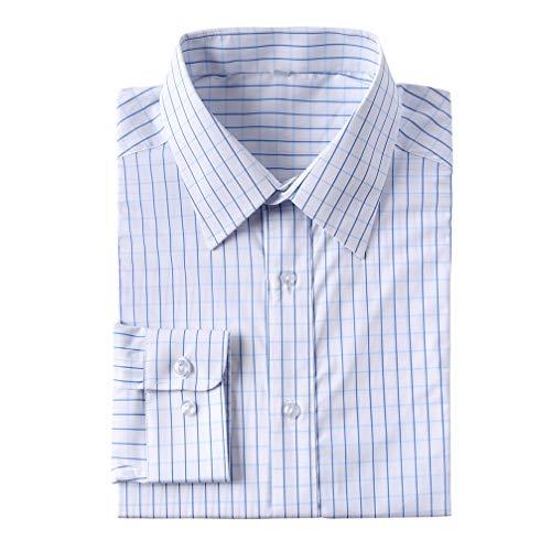 Lemonfish Men's Button Down Collar Dress Shirt, Standard Fit Shirt Long Sleeve Business Casual Wear Blue Plaid 01, M Blue Check Pinpoint Dress Shirt