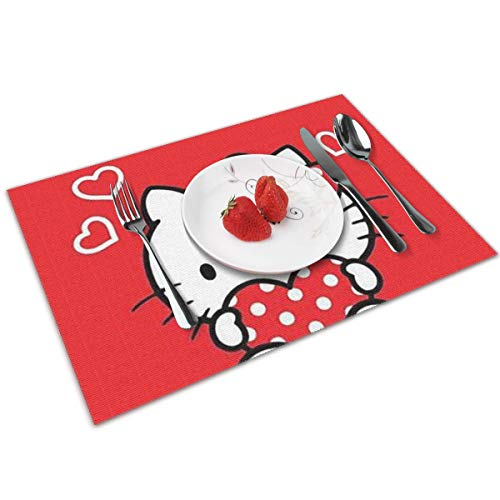 LIUYAN Placemats Hello Kitty Red Love Non-Slip Placemat Washable Dining Table Mats 4pcs