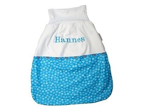 Saco de dormir Saco para bebé de 50 cm puntos turquesa con nombre bordado Stoff: Punkte Türkis, Schrift: Grün Talla:50cm: Amazon.es: Bebé