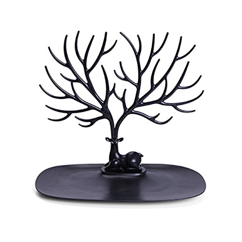 Revolving Circular Cake Display - MONOMONO-Jewelry Deer Tree Stand Display Organizer Necklace Ring Earring Holder Show Rack (black)
