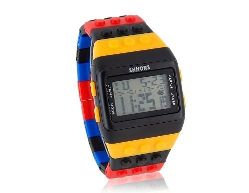 Chic SHHORS W-8201 Rectangle Dial Green Light LED Watch with Multi-Function Display - Colorful