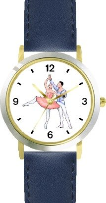 Ballerina and Ballet Dancer Couple No.3 - WATCHBUDDY DELUXE TWO-TONE THEME WATCH - Arabic Numbers - Blue Leather Strap-Women's Size-Small by WatchBuddy