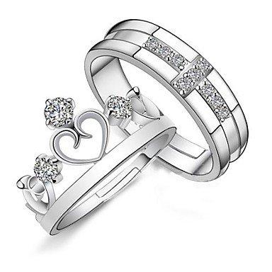 MANDI HOME 925 Couples' Silver Rhinestone Crown Rings (2 pcs), Fashion (Rhinestone Crown Adjustable Ring)