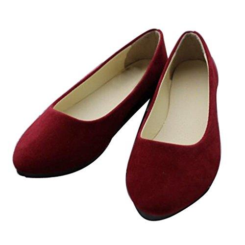 Lieber Zeit Frauen Flache Schuhe Bequeme Slip On Spitz Ballerinas Rotwein