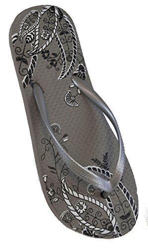 Ladies Paisley Print Design Rubber Flip Flops / Beach Shoes Grey ZVgS1k0