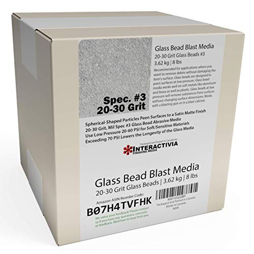 8 lb or 3.6 kg #3 Glass Bead Blasting Abrasive Media Course 20-30 Grit Or Commercial Spec No 3 for Blast Cabinets Or Sand Blasting Guns