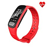 Fitness Tracker - ECG+PPG Heart Rate Monitor with More Accurate HR Smart Wristband Blood Pressure Bracelet Pedometer Activity Tracker Call Remind Sleep Pattern Watch for Android IOS (Red)