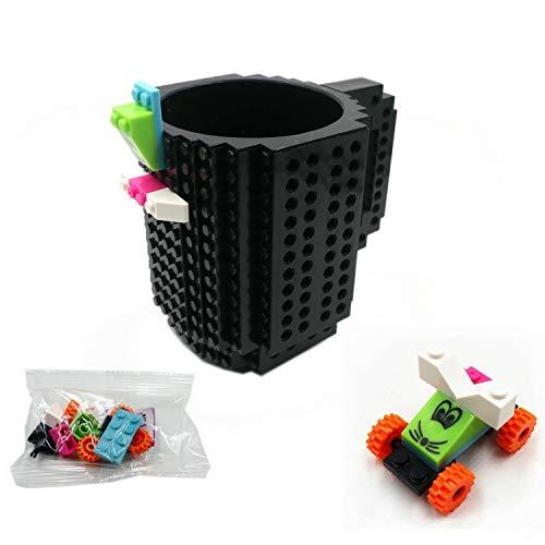 Build-On Brick Mug DIY Coffee Cup Creative Building Blocks for Coffee Tea Beverage Drinking Funny Xmas (Cool Black) -