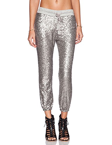 ASMAX HaoDuoYi Womens Spakle Sequin Punk Style 3/4 Loose-Fit Crop Jogger Pants with Drawstring Cropped Trousers Silver ()