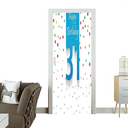 (Door Sticker Wall Decals 31 Year Happy Greetings Stylized Text Confetti Rain Colorful Dots Easy to Peel and StickW30 x H80 INCH)