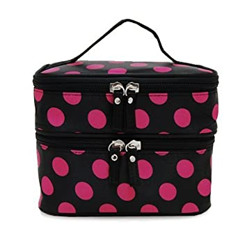 2871cedfe0c7 Amazon.com   ALINCAS Makeup Bag Double Layer Cosmetic Bag Black With Hot  Pink Polka Dots   Beauty
