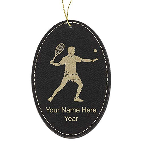 LaserGram Faux Leather Christmas Ornament, Tennis Player Man, Personalized Engraving Included (Black Oval) (Player Tennis Figurine)