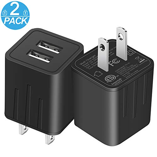 Wall Charger, JAHMAI Universal Dual Port USB Travel AC Adapter Portable Rapid Charger Block Power Plug fast charging (ETL Certified) for iPhone X/8/7/Plus/6S/6/iPad/Samsung/LG/HTC/Google (Ac Wall Travel Charger)