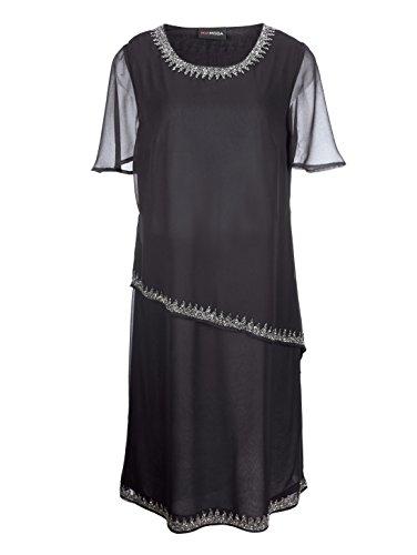 Schwarz Perlenstickerei Damen Kleid Fließend by mit Aufwendiger MIAMODA x1BW0qB