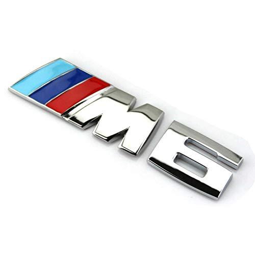 XUXU521 3D Auto Car M M3 M4 M5 M6 Rear Fender Tailgate Fenders Lettering Emblem Badge Sticker Decals for BMW 1 3 5 7 Series E30 E36 E46 E34 E39 E60 E65 E38 (Silver, M6) ()