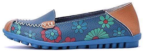 Fangsto Kvinna Läder Blommor Loafers Lägenheter Skor Slip-ons Sty-1 Blue