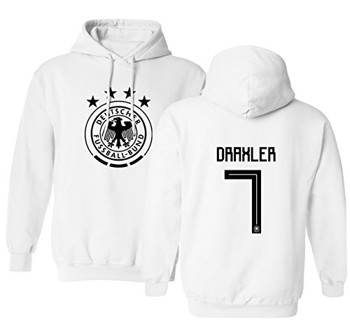 Tcamp Germany 2018 National Soccer #7 Julian DRAXLER World Championship Men's Hooded Sweatshirt (White, Adult Medium)