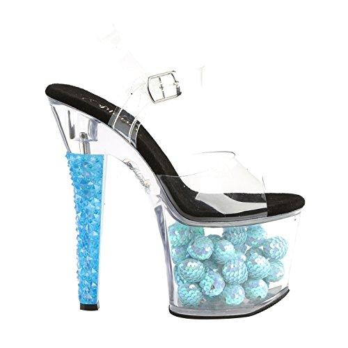 Pleaser Plateau Knöchelriemen Sandale mit Transparenten Riemen und Bei Schwarzlicht Leuchtende Blaue Bälle in der Plattform, Paillettenkugel