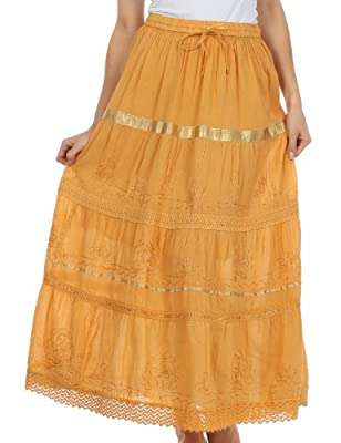 Sakkas Solid Embroidered Gypsy/Bohemian Full/Maxi/Long Cotton Skirt