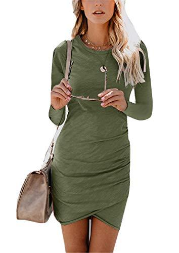 Womens Bodycon Dress Casual Tshirt Dresses Ruched Dress Mini Short Irregular Hem