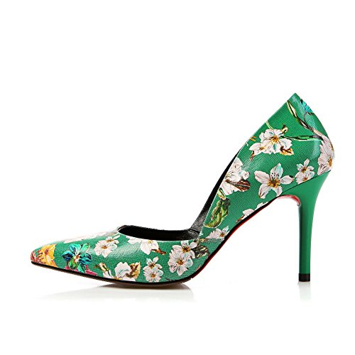 BalaMasa Toe High Sandals Green Closure Toe Sandals Closed Leather Floral Cold Closed ASL04328 Womens Urethane Lining Smooth Heels Manmade Huarache No nWrwqSWx