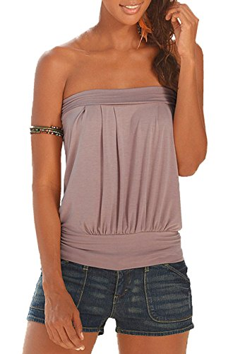 sans Couleur Tops T Vest Kaki Hauts Chemisiers Bandeau Shirts Unie Kilt Dos Shirt Blouse Nu Femme Freestyle Manches Fashion 78SEBRqw