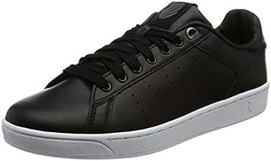 K-Swiss Men's Clean Court Fashion Sneaker, Black/White, 6.5 M US