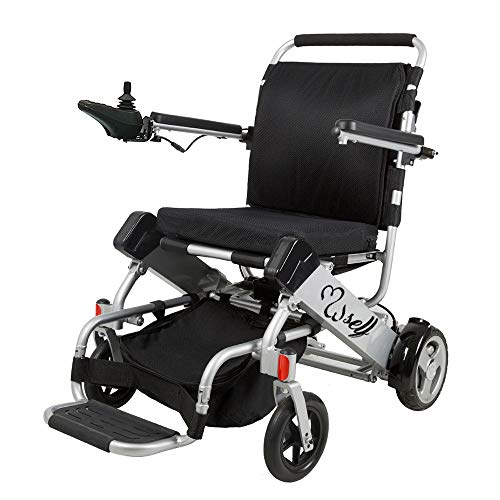 SELF Motorized Wheelchair Foldable Electric Wheelchair - FDA Approved, with 2 Powerful Motors, Durable, Safe, Lightweight, Easy to Store, Easy to Carry (Silver)