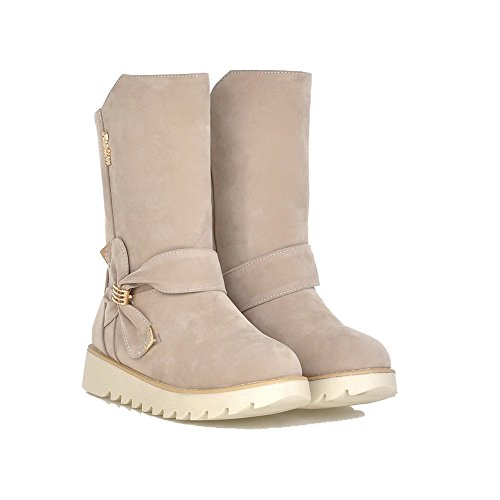 Beige Heels Pull Women's Low Boots Imitated on Solid Low Suede Allhqfashion top zFP4wTqq