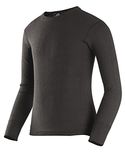 ColdPruf Youth Enthusiast Single Layer Long Sleeve Crew Neck Top, Black, - Single Crewneck Layer