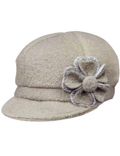 Dahlia Women's Chic Flower Newsboy Cap Hat Wool Blend - Dual Layer, Tan ()
