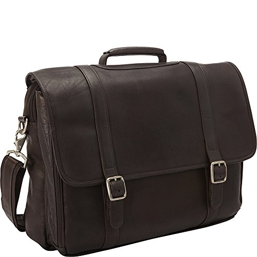 - Clava Leather Gusset Laptop Briefcase (Vachetta Cafe)