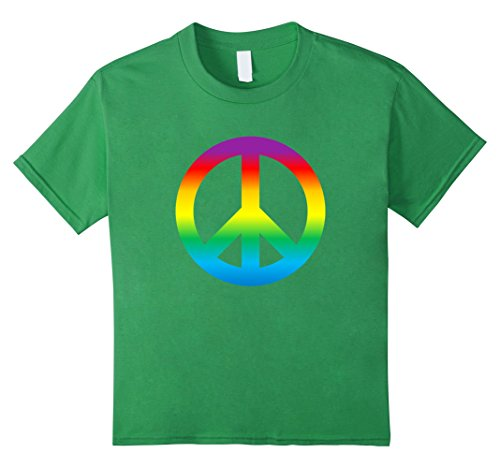 Youth Tie Dye (Kids Rainbow Peace Sign T Shirt Hippy 1960s 12 Grass)