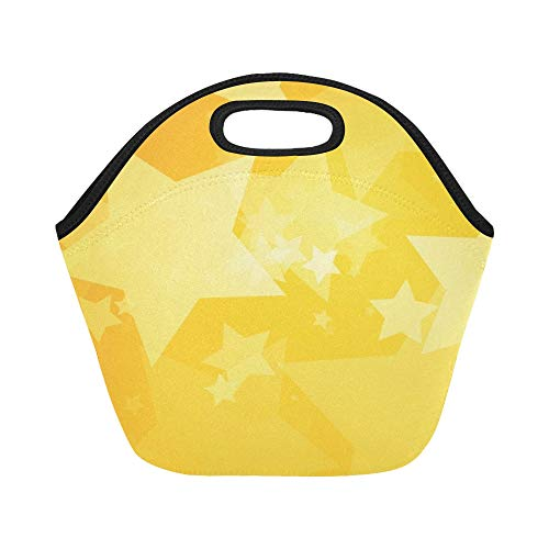 Insulated Neoprene Lunch Bag Stars Yellow Large Size Reusabl